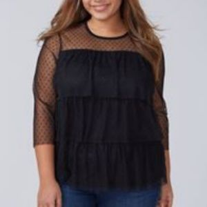 18/20 Lane Bryant Black Dot Mesh Ruffle Top